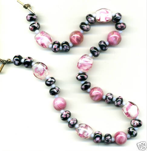 Pink, Black and Blue Vintage Glass Necklac