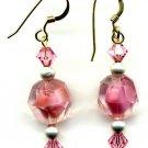 Pink German Givre Vintage Bead and Crystal Earrings