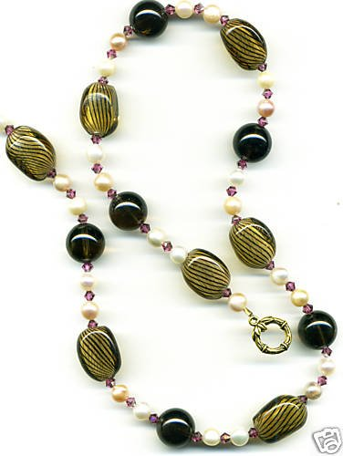 Brown Striped Glass, Glass Pearl and Crystal Necklace