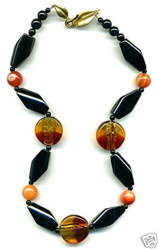 Rare, Gorgeous Vintage Bead and Black Agate Nedcklace
