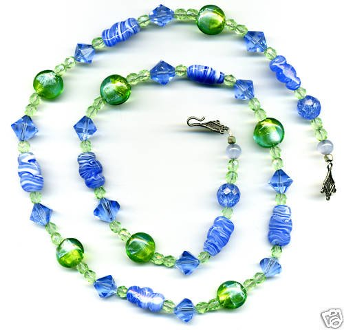 Long Blue and Green Vintage Bead Necklace