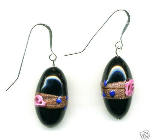 Venetian Bead Earrings, Black, Pink roses, handmade