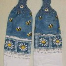 Kitchen Towels Bumble Bees and Daisies FREE SHIPPING