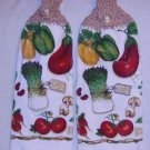PAIR of Kitchen Hand Towels Veggies FREE SHIPPING