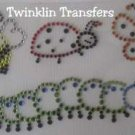 Rhinestone Iron On Transfer BUGS BEE BUTTERFLY LADYBUG