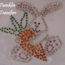 Rhinestone Hot Fix Iron On Transfer EASTER BUNNY CARROT