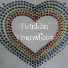 Rhinestone Transfer Iron On 80s RAINBOW HEART