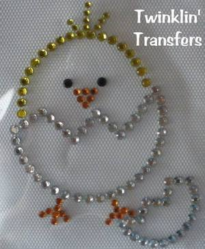 Rhinestone Transfer Iron On EASTER BABY CHICK EGG
