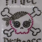 Rhinestone Iron On Transfer PIRATE PRINCESS SKULL PINK