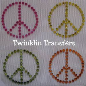 Rhinestone Iron On Transfer MINI PEACE SIGNS RETRO PINK
