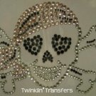 Rhinestone Transfer Hot Fix Iron On SKULL HEART PIRATE