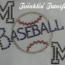 Rhinestone Transfer Hot Fix Iron On BASEBALL MOM BLUE