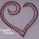Rhinestone Hot Fix Iron On Transfer VALENTINE HEART RED
