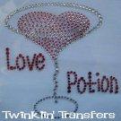 Rhinestone Transfer Hot Fix Iron On HEART LOVE MARTINI