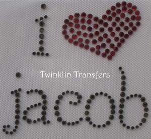 Rhinestone Transfer Iron On  TWILIGHT I HEART JACOB