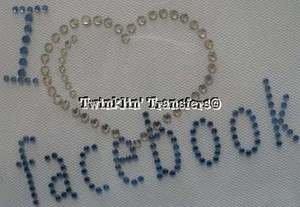 Rhinestone Transfer Iron On I LOVE HEART FACEBOOK FB