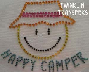 Rhinestone Transfer Iron SMILE SUMMER CAMP HAPPY CAMPER