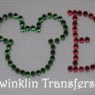 Rhinestone Hot  Iron On Transfer CHRISTMAS NOEL MICKEY