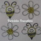 Rhinestone Iron On Transfer BEE BUMBLEBEE DAISY FLOWER