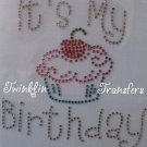 Rhinestone Iron On Transfer BIRTHDAY CUPCAKE CHERRY PIN
