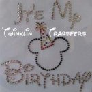 Rhinestone Hot Iron On Transfer DISNEY BIRTHDAY MICKEY