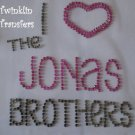 Rhinestone Hot Fix Iron Transfer I HEART JONAS BROTHERS