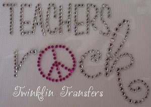 Rhinestone Iron On Transfer TEACHERS ROCK PEACE SIGN