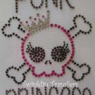 Rhinestone Transfer Iron On PUNK PRINCESS PINK EMO SKUL