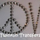 Rhinestone Iron On Transfer RETRO LOVE PEACE SIGN