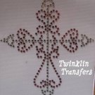 Rhinestone HotFix Iron On Transfer CROSS CHRISTIAN PINK
