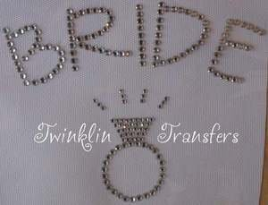Rhinestone Transfer Hot Fix Iron On WEDDING BRIDE RING