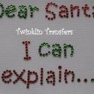 Rhinestone Hot Fix IronOn Transfer CHRISTMAS DEAR SANTA