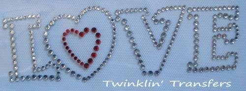 Rhinestone Transfer Hot Fix Iron On RED HEART LOVE