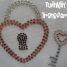 Rhinestone Transfer Hot Fix Iron On HEART LOCK KEY PINK