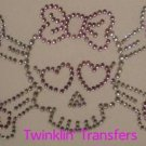 Rhinestone Transfer IronOn Hot Fix PINK HEART BOW SKULL