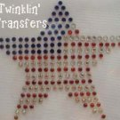 Rhinestone Transfer Hot Fix Iron On USA FLAG STAR
