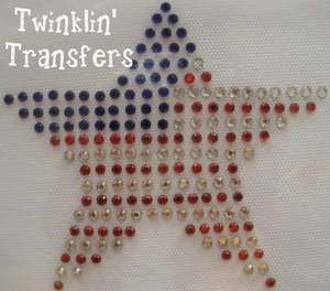 Rhinestone Transfer Hot Fix Iron On USA FLAG STAR