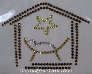 Rhinestone Transfer Iron On CHRISTMAS MANGER BABY JESUS