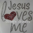 Rhinestone Hot Iron On Transfer JESUS LOVES ME HEART