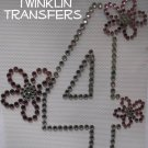 Rhinestone Iron On Transfer BIRTHDAY 4 FOUR 4th FLOWER