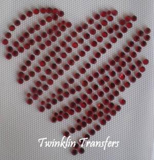 Rhinestone Hot Fix Iron On Transfer RED HEART VALENTINE
