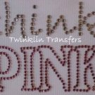 Rhinestone Iron On Transfer THINK PINK BREAST CANCER