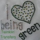 Rhinestone Transfer Iron On LOVE GREEN RECYCLE HEART