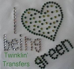 Rhinestone Transfer Iron On LOVE GREEN RECYCLE HEART