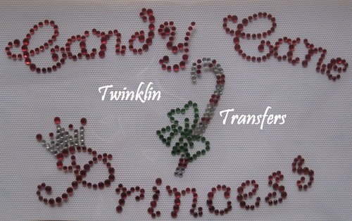 Rhinestone Hot Fix Iron On Transfer CANDY CANE PRINCESS