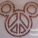 Rhinestone Hot Fix Iron On Transfer PEACE MICKEY PINK