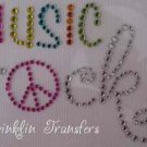 Rhinestone Iron On Transfer MUSIC ROCKS PEACE SIGN PINK