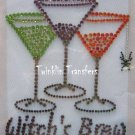 Rhinestone Transfer Hot Fix Iron On HALLOWEEN MARTINIS