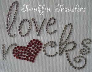 Rhinestone Hot Fix Iron On Transfer LOVE ROCKS HEART