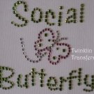Rhinestone Iron On Transfer SOCIAL BUTTERFLY PINK GREEN